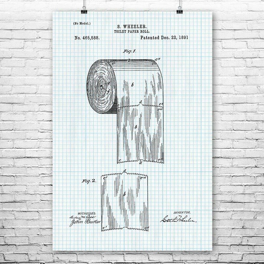 Details About Toilet Paper Roll Poster Print Bathroom Decor Plumber Gift Restroom Art Poster Prints Plumbers Gift Rolled Poster