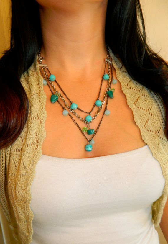 Turquoise Beaded Charms on a Multi Strand Chain by KatydidsJewels, $15.00