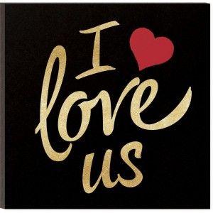 "I Love Us Glitter Plaque - 11-3/4"" x 11-3/4"""