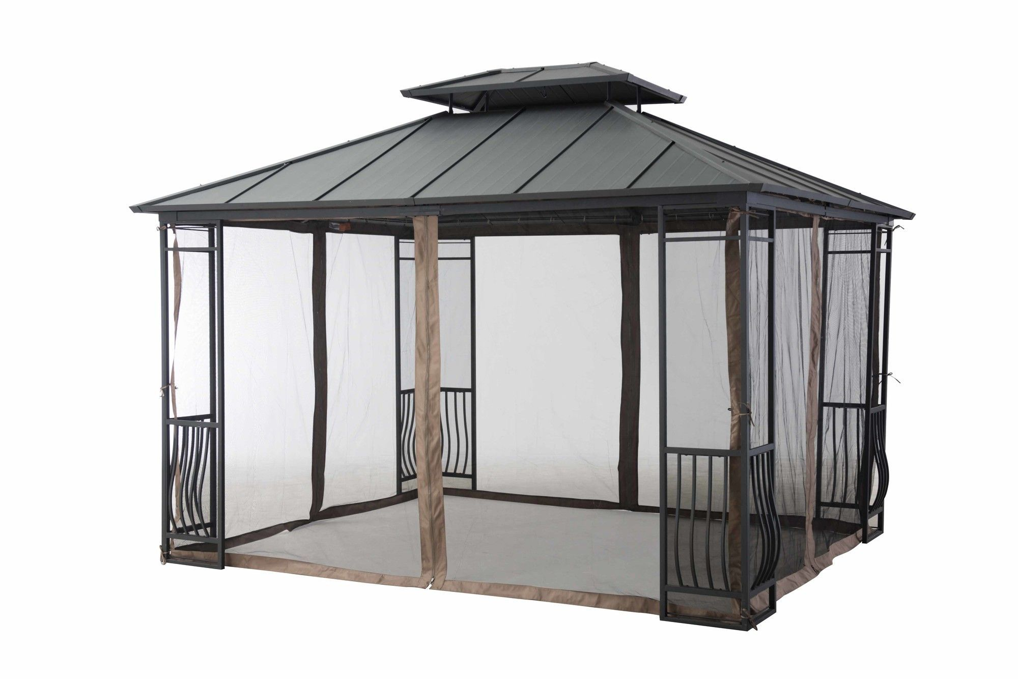 Features Mosquito netting for your patio gazebo es in beige
