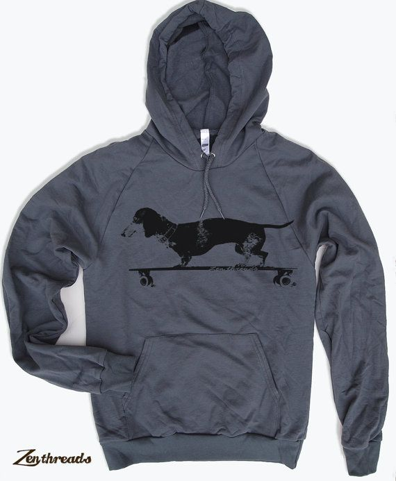 Unisex Pullover Hoody - Longboard DACHSHUND  - Flex Fleece Classic Sweatshirt - American apparel sizes xs s m l xl (3 Colors)