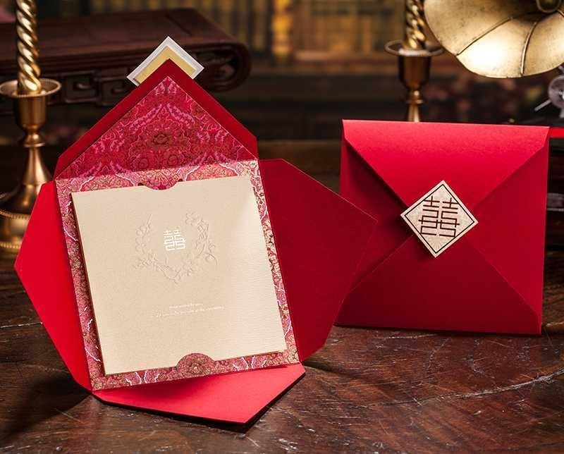 Chinese Themed Wedding Invitations: Asian Theme Red Double Happiness Wedding Invitation Card