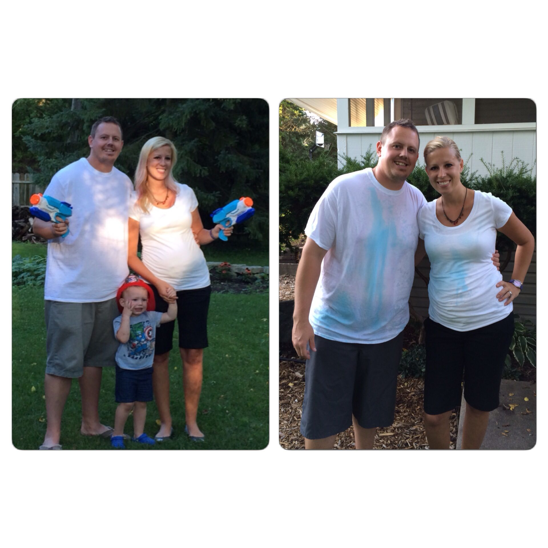 Baby gender reveal using super soaker water gun filled with blue or