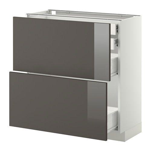 METOD / FÖRVARA Élément bas 2faces/2tir bas+2moy - blanc, Ringhult - meuble bas cuisine avec plan de travail