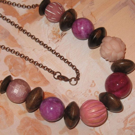 Chunky Pink Lucite Wood Stone and Clay Beads on by ColieArt, $40.00