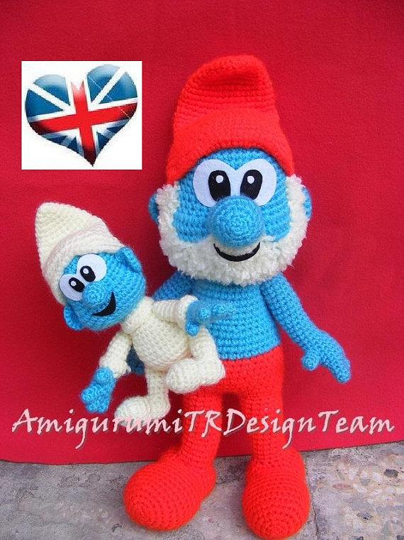 Papa Baby Smurfs and by AMIGURUMITRDESIGN on Etsy | amigurumi-örgü ...