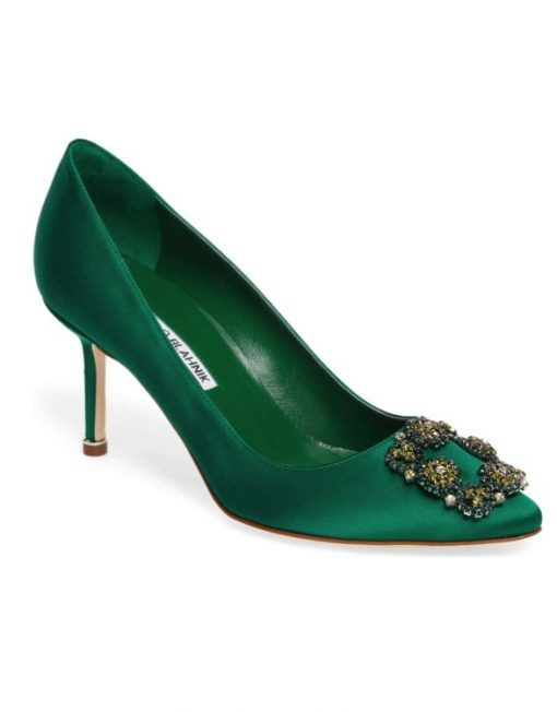 Emerald Green Buckle Pumps | Manolo