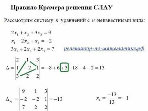 Решение систем линейных уравнений методом крамера задачи сивашинская педагогика в помощь сдающему экзамен