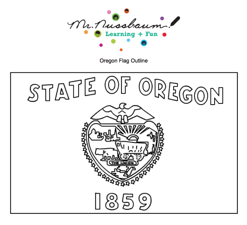 Oregon State Flag - Beautiful coloring page featuring the ...