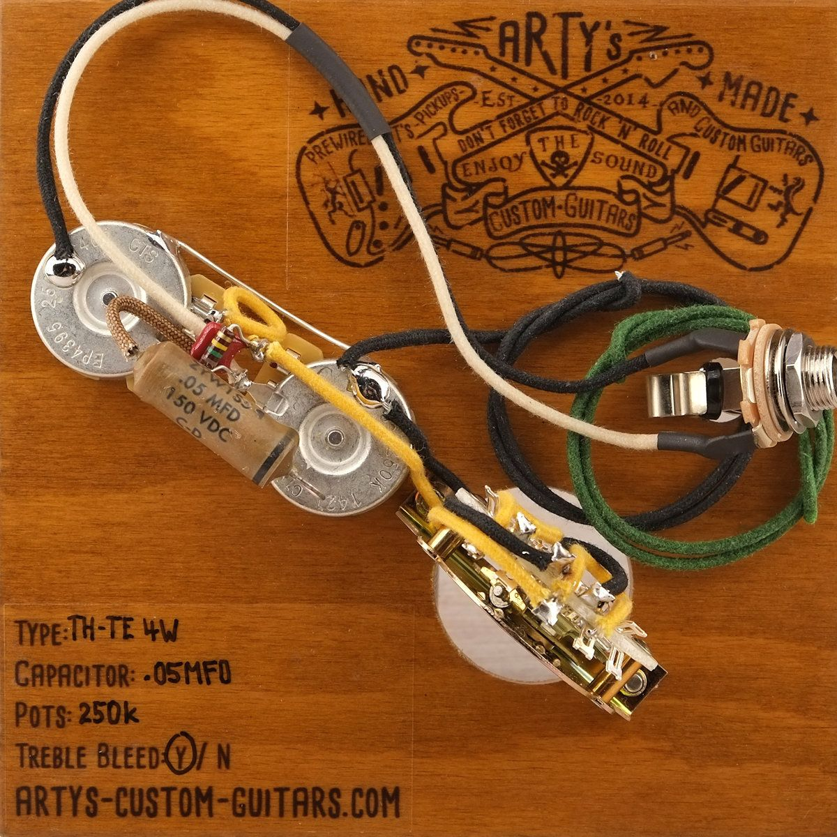 Arty's Custom Guitars 4 way Premium Vintage pre-wired prewired Kit wiring  Assembly Harness Arty