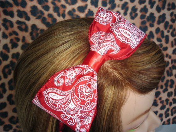 Red bandana Tough girl Rockabilly Pinup bow and by GravesideLooks