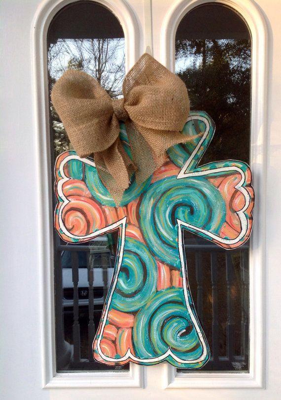 Painted Wooden Cross Door Hanger With Ribbon Cross Door Hangers
