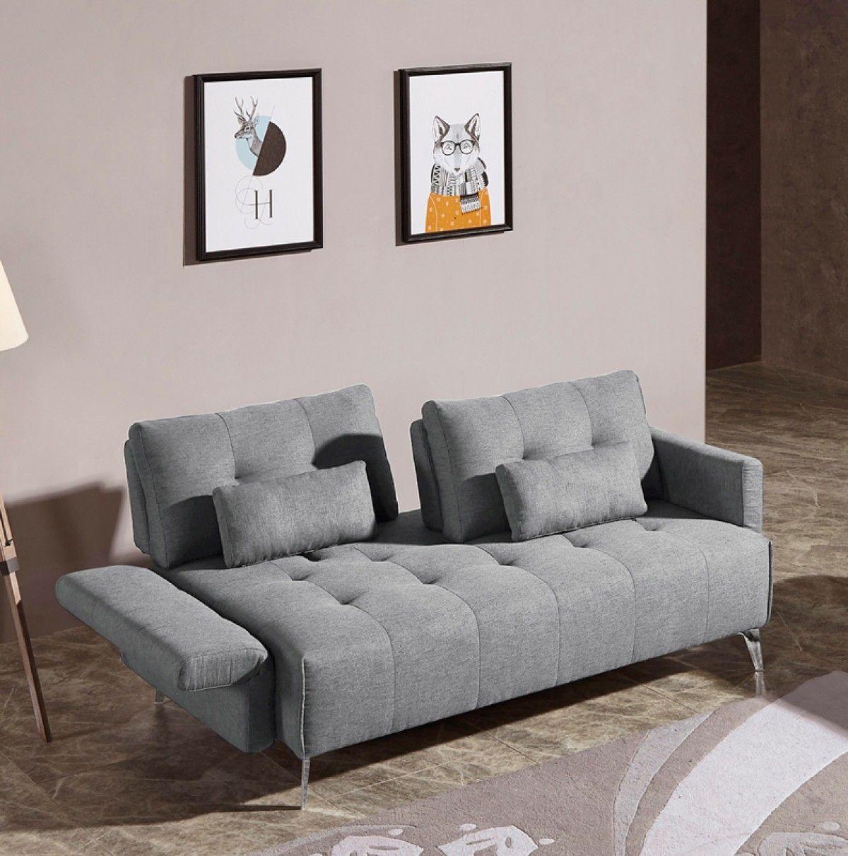 Divani Casa Alcoa Grey Fabric Sofa Adjustable Backrest Movable