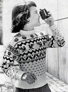NEW! Pullover Sweater, Mittens & Ear Warmer knit patterns from Fashions & Fun for the Almost Teens, Bernat Handicrafter Book No. 59 from 1957.
