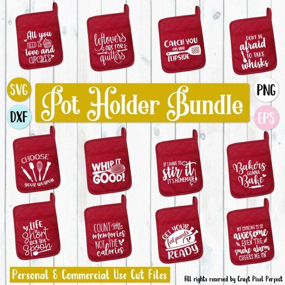 Pot Holder Svg: Pot Holder Svg Bundle, Dish Towel Svg, Kitchen Svg Bundle