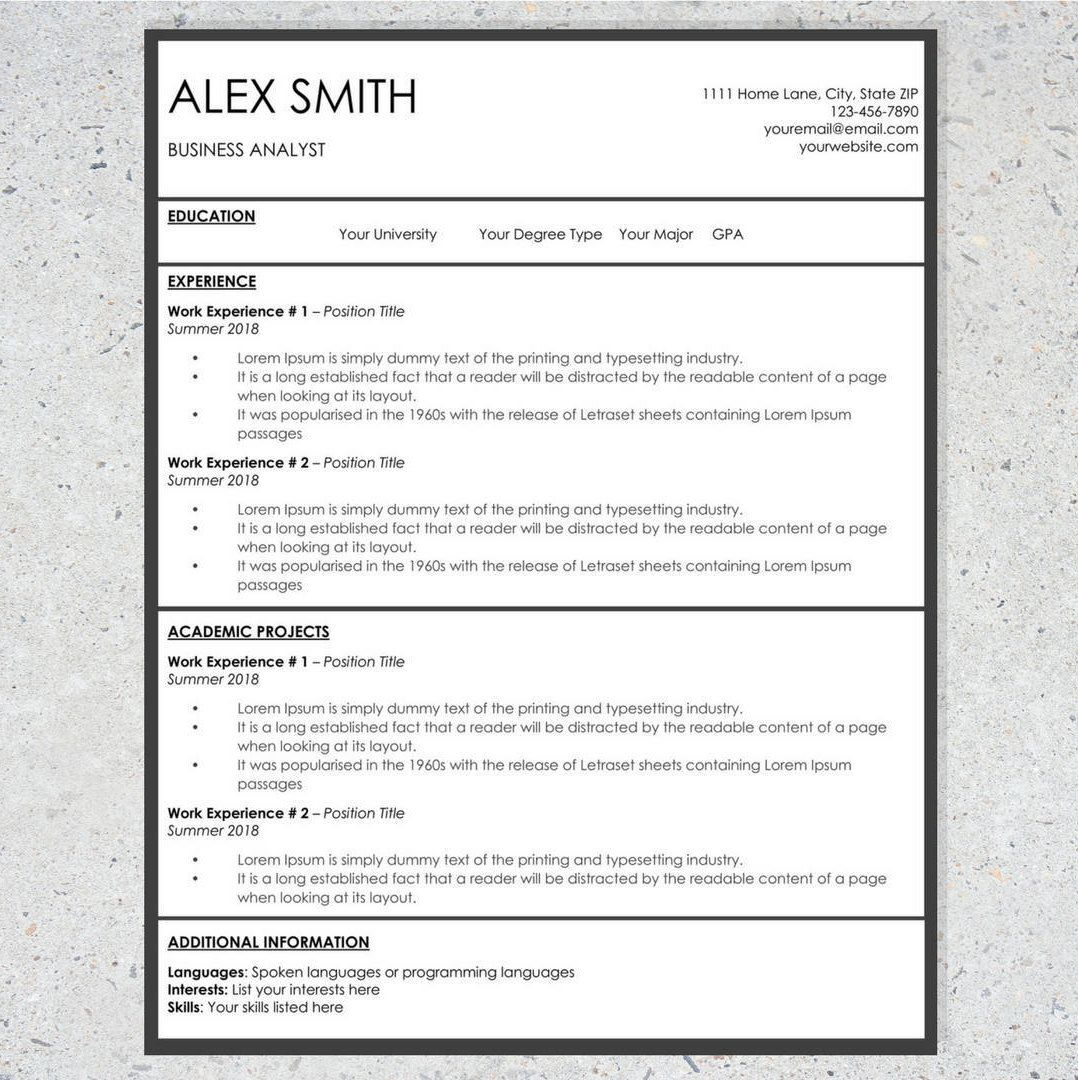 Basic Resume Template   Word Resume Template   Cover Letter ...