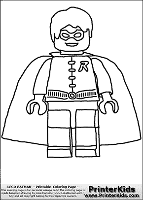 Lego Batman Robin Front View Coloring Page Batman Lego Coloring