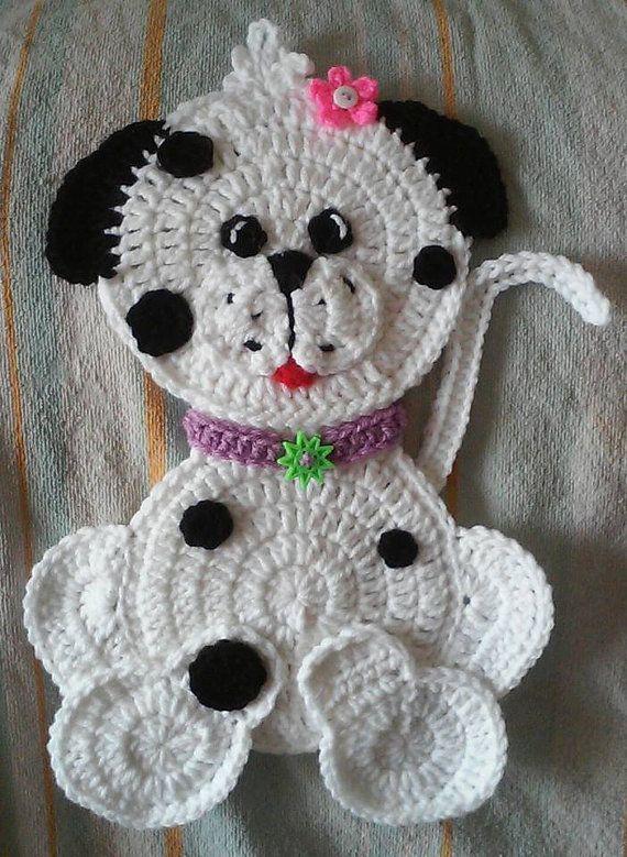 Crochet Dalmatian Puppy Dog potholder pattern by 3ThreadinBettys