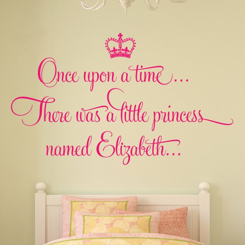Personalised once upon a time princess wall sticker decal girls bed room art