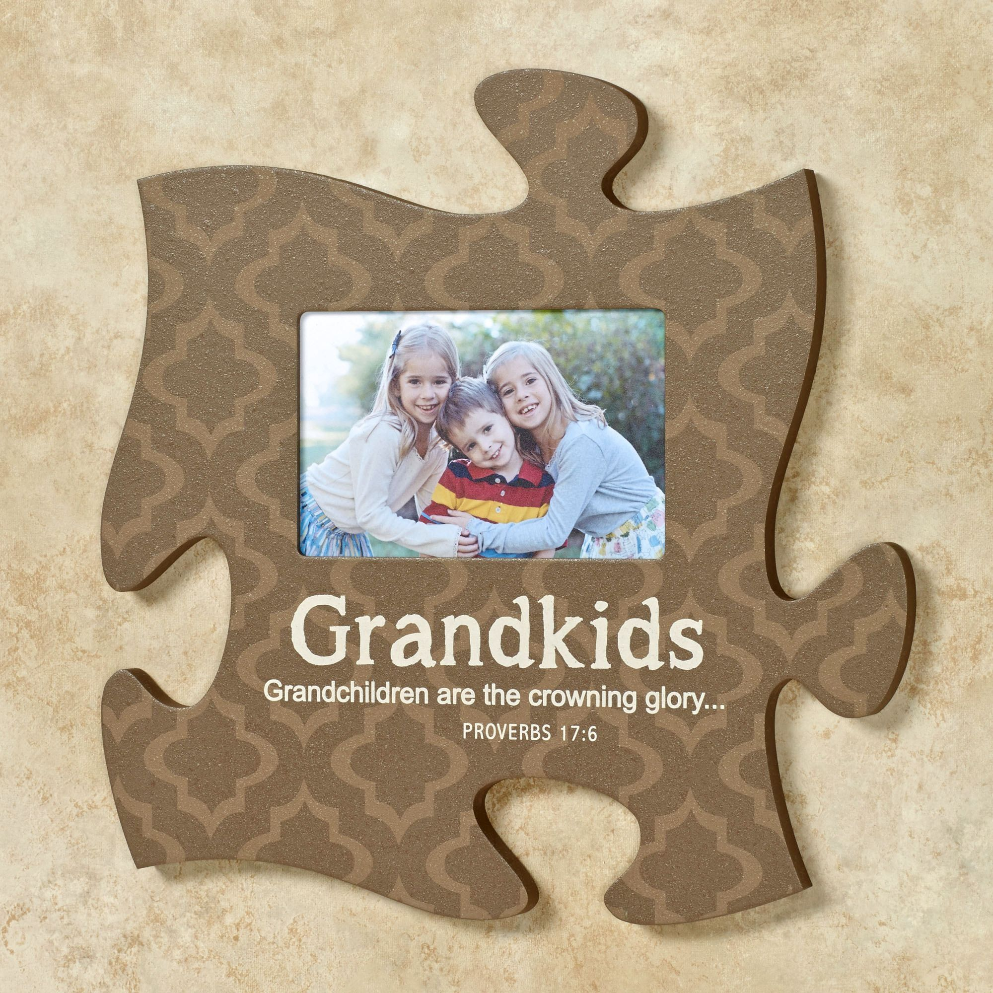 Grandkids quote photo frame brown wood crafts pinterest the grandkids and grandmother photo frame puzzle piece wall art allows you to display your familys cherished photos along with solid colors jeuxipadfo Images