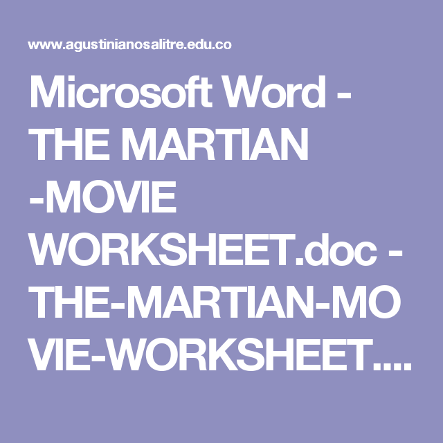 Microsoft Word The Martian Movie Worksheet Doc The Martian
