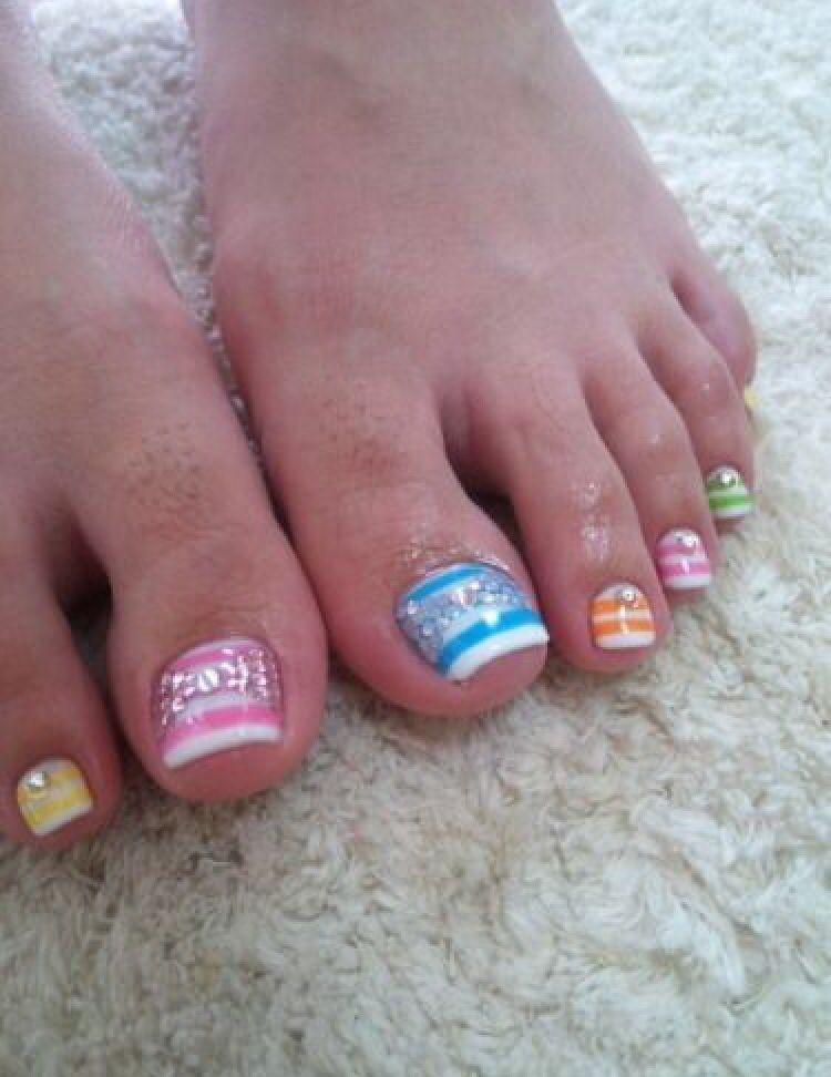 Cute Stripes Toe Art Nails Toes Pinterest Pedicures Toe