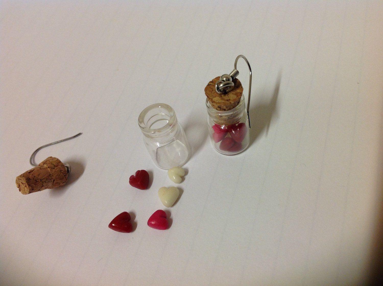 Lovelys, polymeer klei hartjes in glazen flesjes als oorbellen door FairysTreasure op Etsy