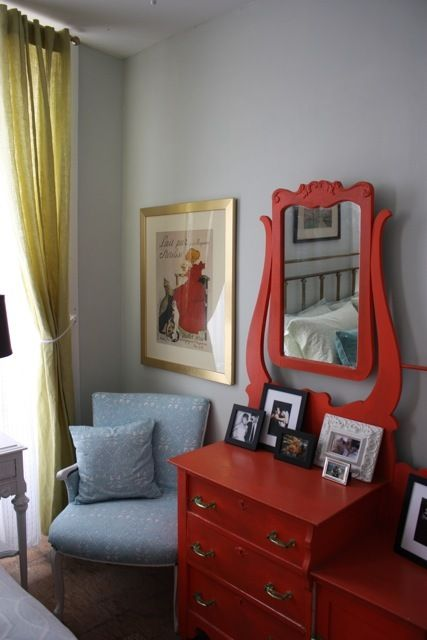 Love The Fire Engine Red Dresser Peaceful Wall Color Healing Aloe Benjamin Moore And Chartreuse Curtains Www Afterdinnerdesign Blo