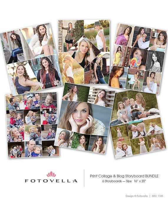 16x20 Print Collage Templates - Blog Board Templates - 6 Pack Bundle