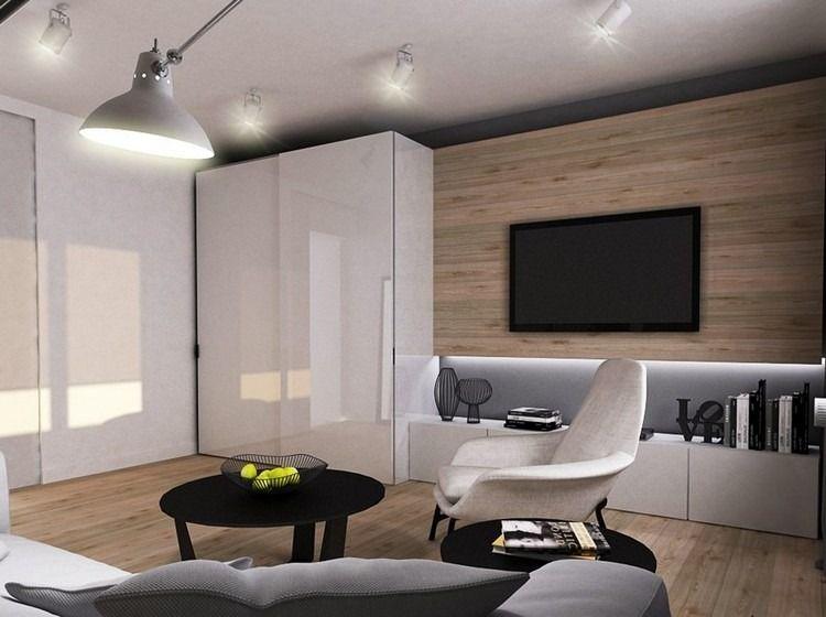 Parement mural salon et peinture artistique en 80 idées déco Salons - peindre un meuble laque blanc
