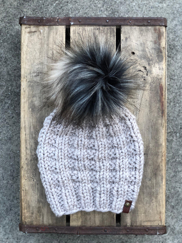 3d17ba614 Pewter Cozy Wool Knit Beanie Faux Fur Pom Pom Hat by KitchenKlutter ...
