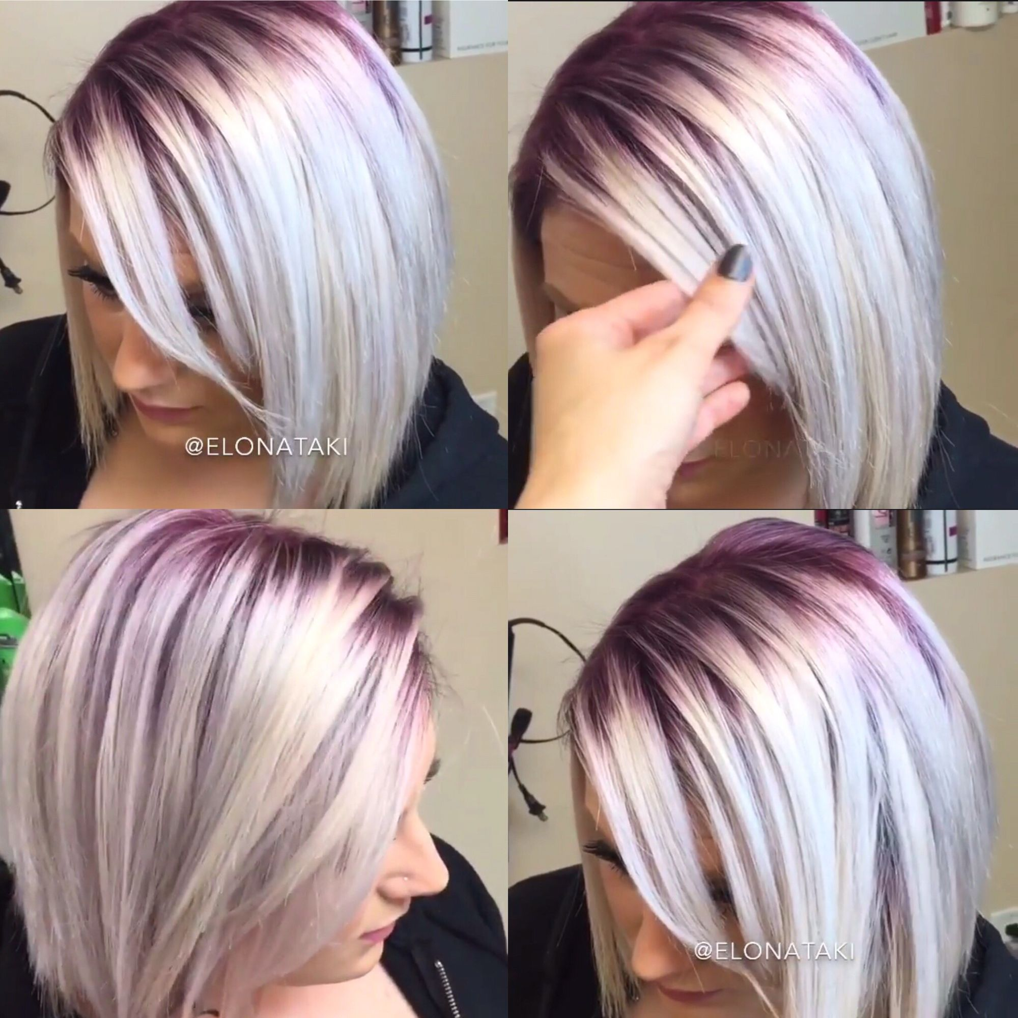 Silver blonde hair with dark purple roots.