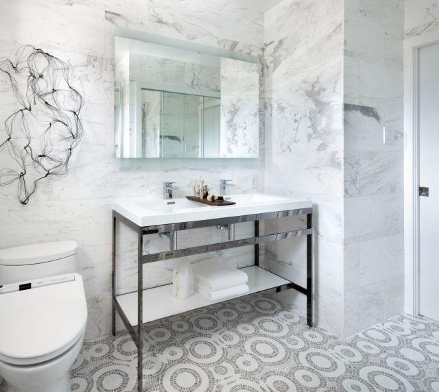 Geometrische Badezimmer Fliesen Muster Weiße Marmor Wände Waschtisch