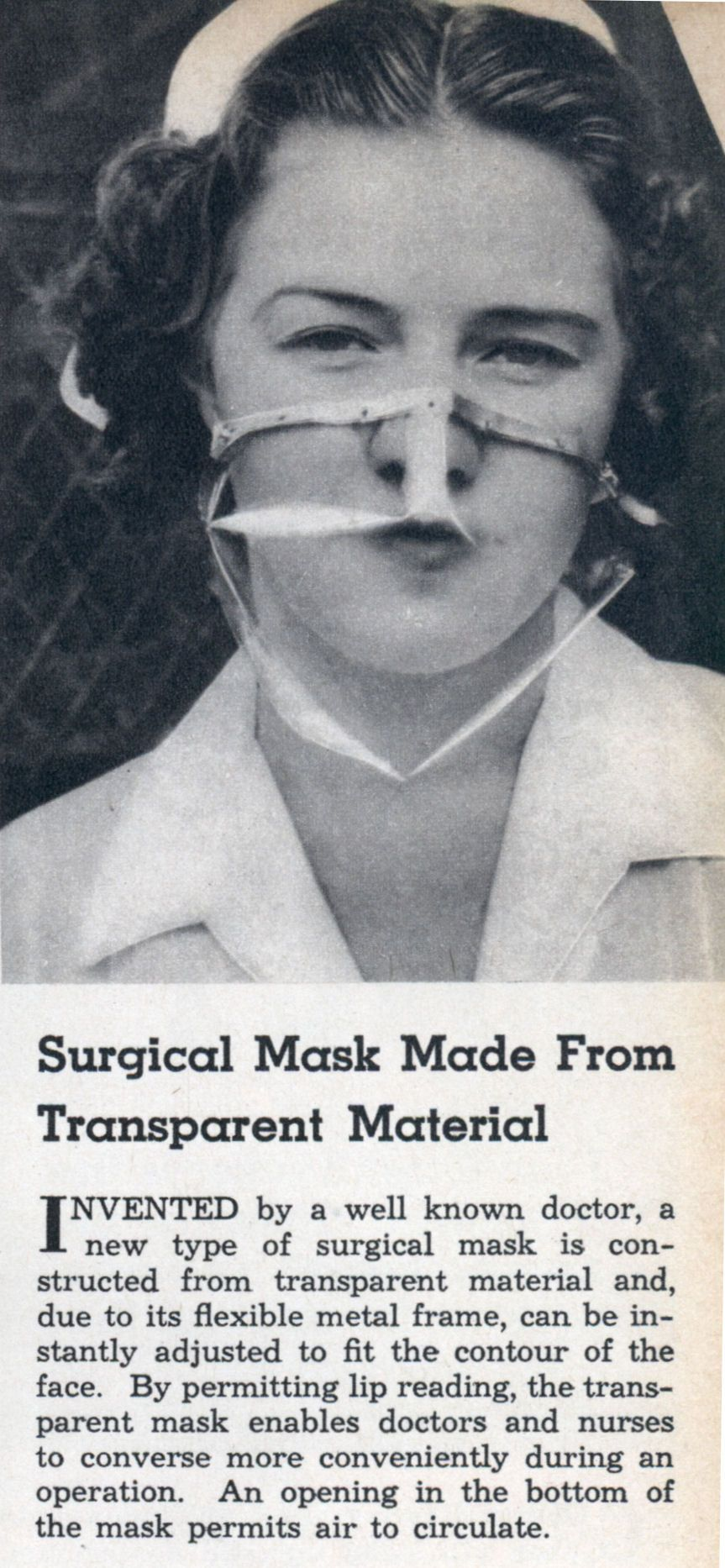 Surgical Mask Made From Transparent Material (Jun, 1938) | Modern ...