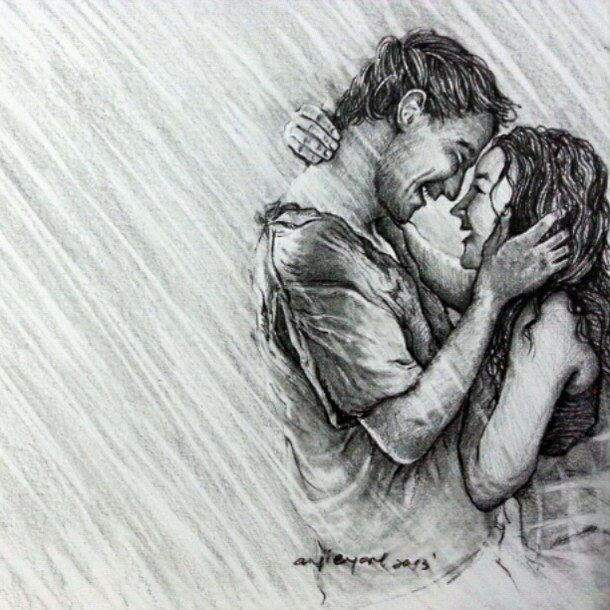 Beautiful pencil sketches of love couple