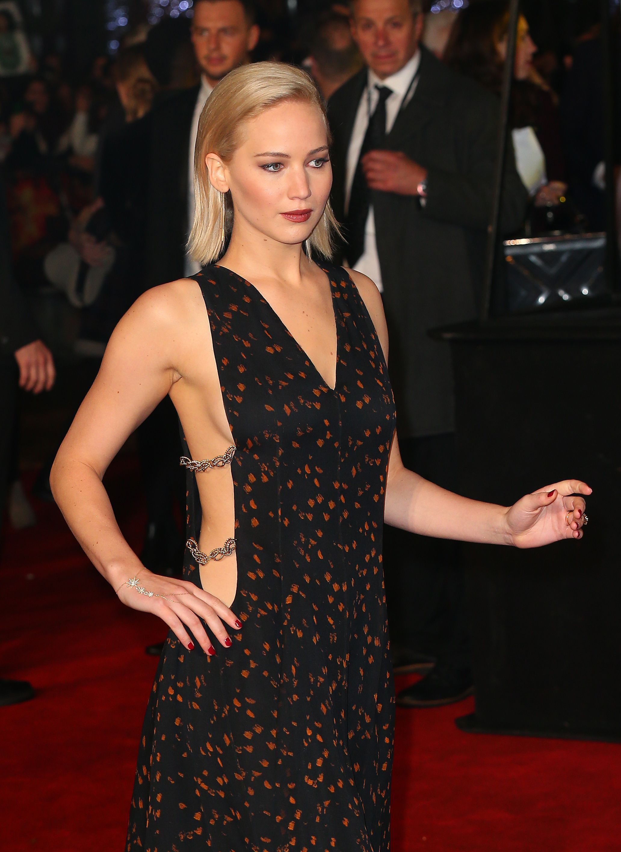 "Jennifer Lawrence at the premiere of ""Mockingjay part.2"" in London, 2015."