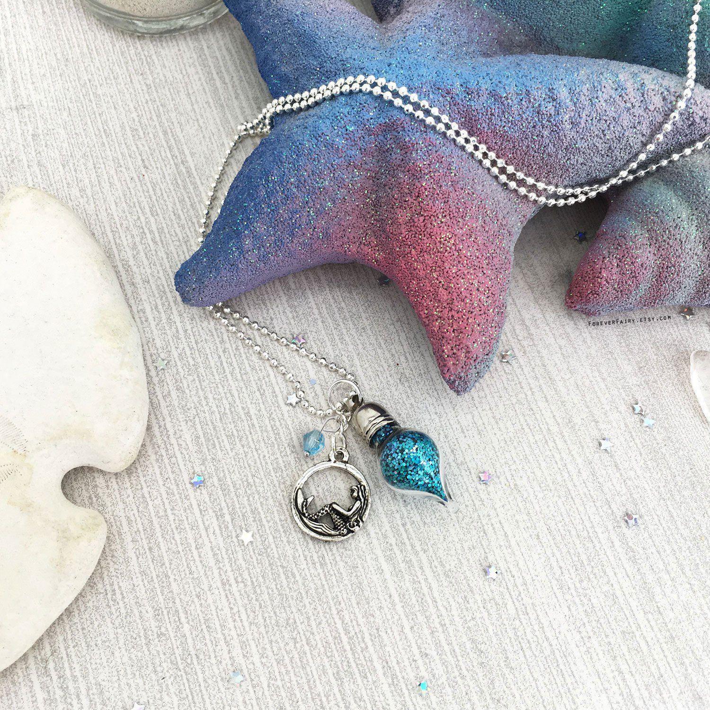 Glitter Mermaid Charm Necklace