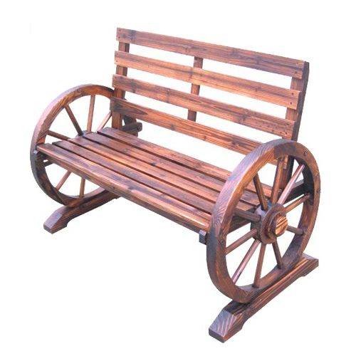 Wooden Garden Bench Seat Burnt Wood Seater Outdoor Park 400 x 300