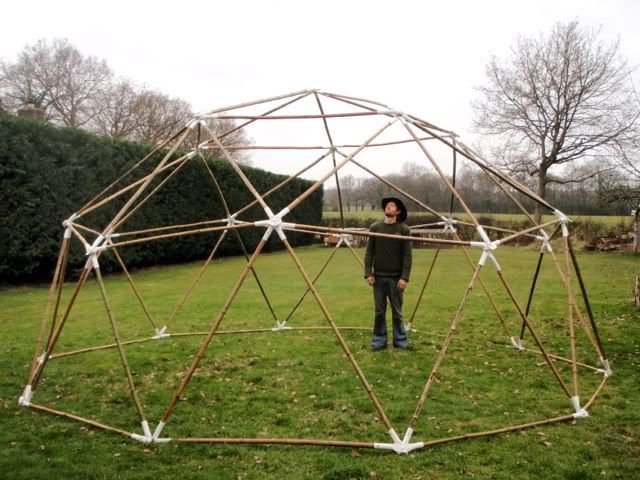 I've made a Bamboo Geodesic Dome - Pics and tutorial inside   Little Geodesic Greenhouse Designs Modern Html on