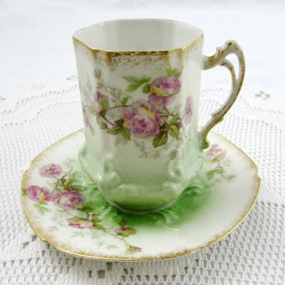 Limoges Green Chocolate Cup And Saucer With Pink By Theacreage