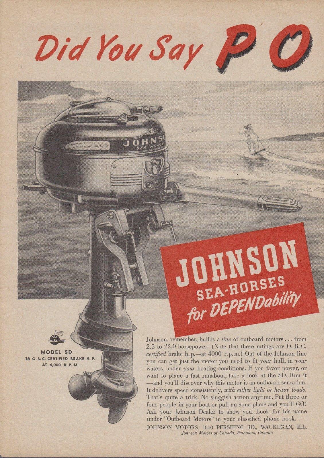 Johnson Sea-horse Outboard Motors Vintage Reproduction Metal Sign 8 x 12