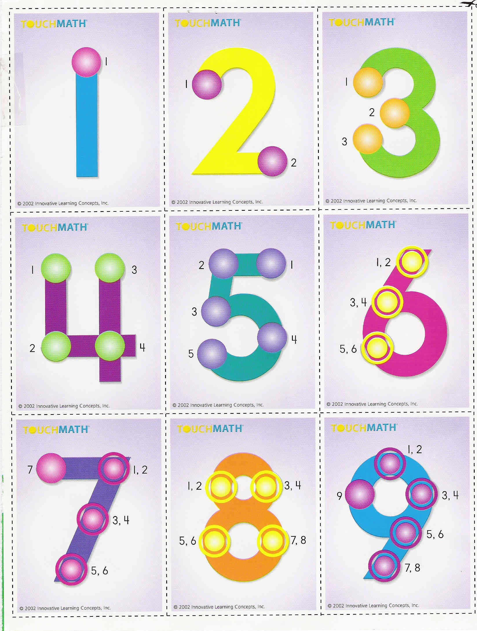Touch Math Numbers 1 9 Printable That Are Canny Mitchell
