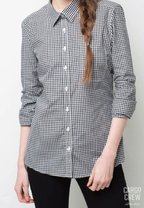 24517408 Meet Max - the perfect black and white women's shirt with a small check  pattern.