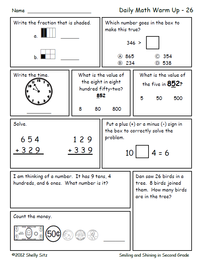 Math Review For Second Grade Great For Morning Work Or Homework Click On Preview For Your Free Sample Daily Math Math Worksheets Common Core Math Worksheets