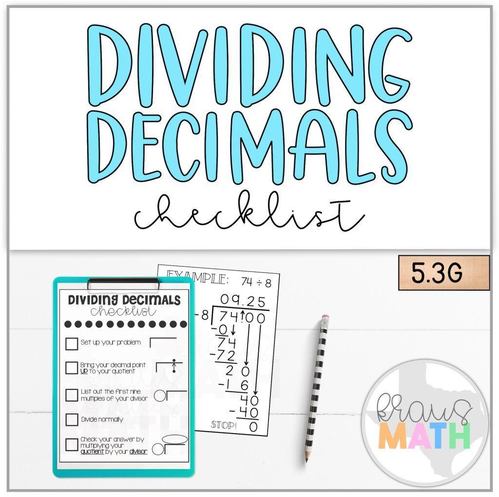 Dividing Decimals Checklist Teks 5 3g
