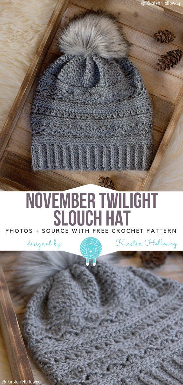 November – Twilight – Slouch-Hut – Gratis Häkelanleitung | Crochet ...