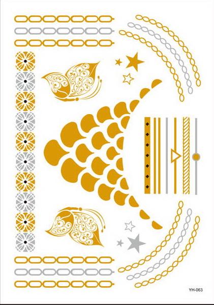 GYH063 Item Metallic Tattoo Sticker Size 20x15 cm Price