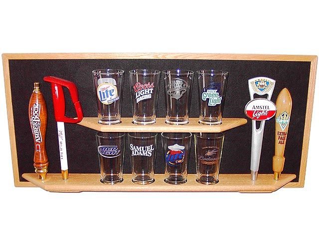 Beer Tap and Pint Glass display I want this!! Beer taps