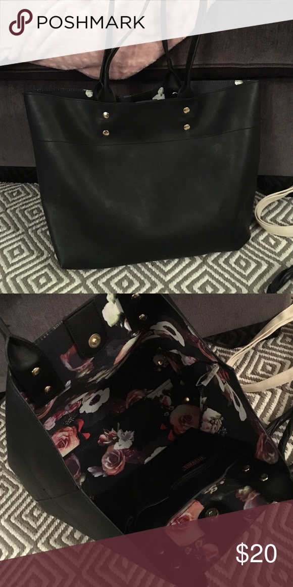 Black tote Used as a laptop bag for work a few times, otherwise brand new, really cute design inside! Bags Totes