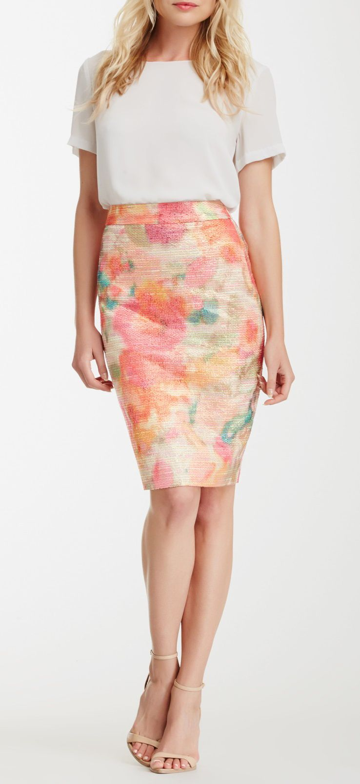 giverny floral metallic tweed pencil skirt